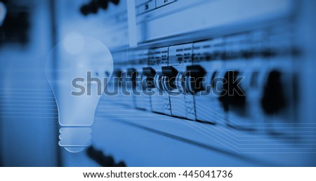 Shiny light bulb on black background against view of data technology