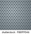 Shiny Light Gray Perforated Metal Plate. Rasterized Version - stock photo