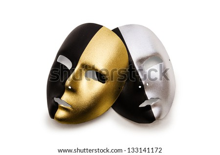 Shiny masks isolated on white background - stock photo