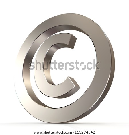 shiny metal copyright sign - 3d render
