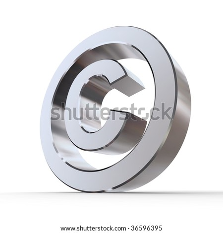 shiny metal copyright sign - silver/chrome style - low camera angle - stock photo