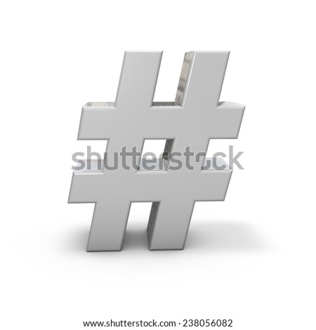 Shiny metal hash tag standing on floor, with shadow, isolated on white 3d illustration. - stock photo