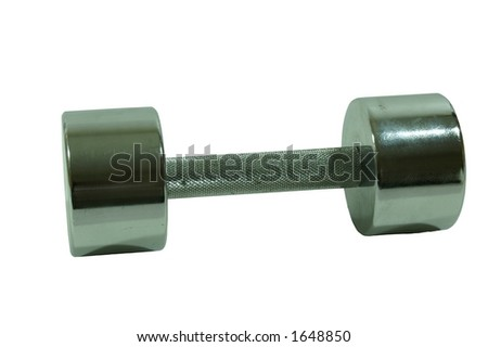 Shiny metal 10 lb dumbbell weight. - stock photo