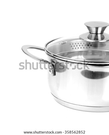 Shiny Metal Pan Isolated on a White Background