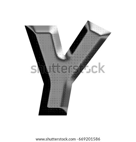 Shiny metal panel uppercase or capital letter Y in a 3D illustration with a glossy silver metallic chrome industrial holes textured surface finish isolated on a white background with clipping path.