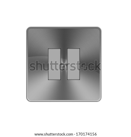 Shiny metal Pause button icon isolated on white background. - stock photo