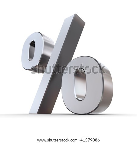 shiny metal percentage symbol - chrome and silver style
