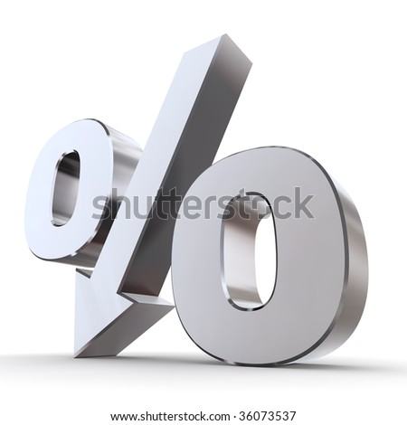shiny metal percentage symbol with an arrow down - stock photo