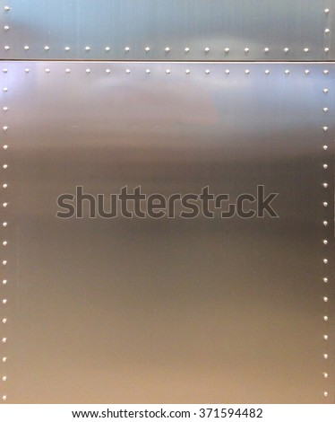 Shiny Metal Texture Background with Button and Line for Furniture Material or Room Interior - stock photo