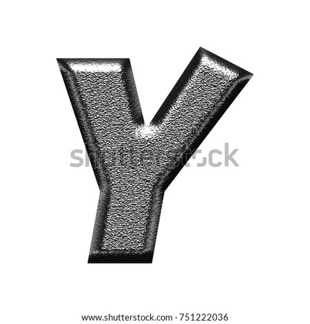 Shiny metallic chiseled dark silver chrome uppercase or capital letter Y in a 3D illustration with a glossy rough hammered metal basic bold font isolated on a white background with clipping path.