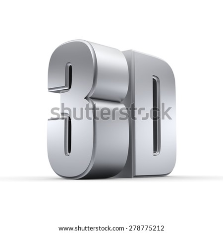 Shiny metallic 3D word - stock photo