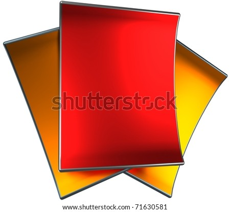 shiny metallic paper, 3d render isolated on white - stock photo