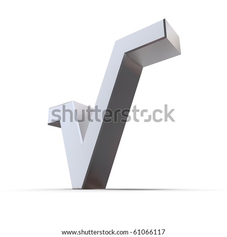 shiny metallic root symbol in 3d made of silver/chrome