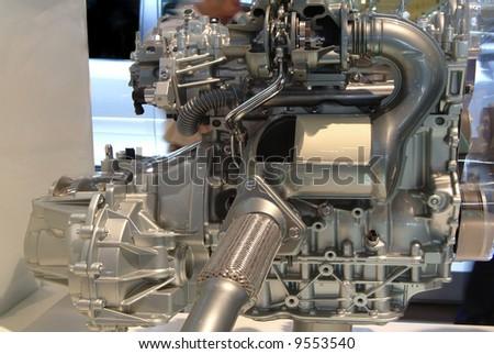 Shiny modern car power engine details - stock photo