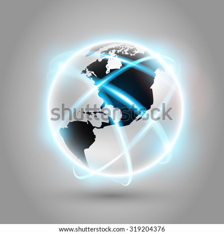 Shiny modern metallic world globe with connections. Raster version - stock photo