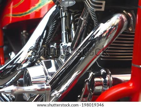 Shiny motorcycle engine - stock photo