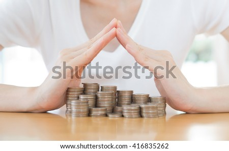 Shiny new money saving or care concept with copy-space - stock photo