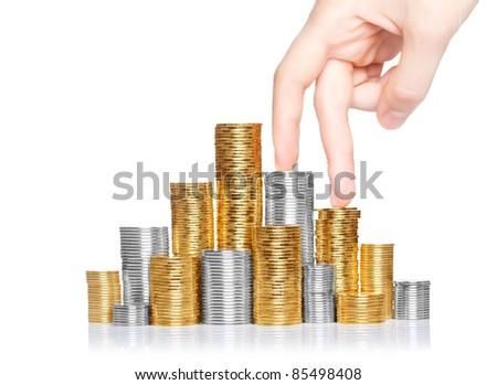 Shiny new money staircase - stock photo