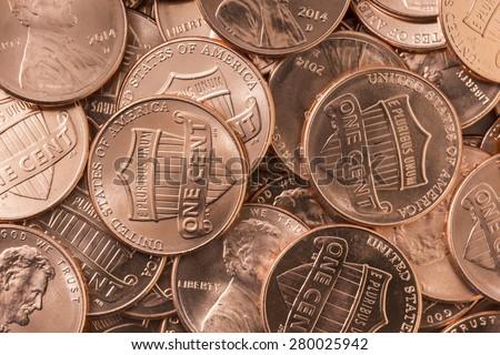 Shiny New Pennies - stock photo