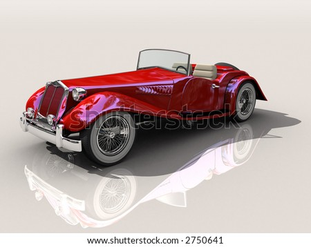 Shiny old Hot Rod 3D model of vintage red convertible car, on reflective surface with clipping work path included, in side view - stock photo