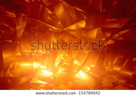 Shiny orange facet background - computer generated 3D render  - stock photo