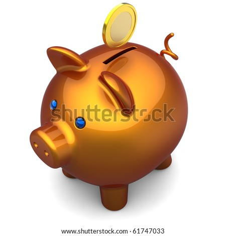 Shiny orange Piggy bank with a gold coin over it. Savings concept. The top-side view. 3D render. Isolated on white - stock photo