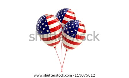 Shiny Patriotic US balloons with American flag design - stock photo