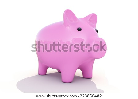 Shiny pink piggy bank on a white background - stock photo