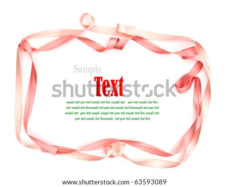 Shiny pink ribbon on white background with copy space. - stock photo