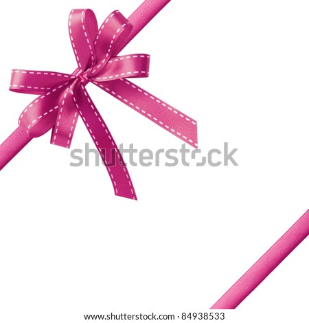 Shiny Pink satin ribbon on white background with copy space - stock photo