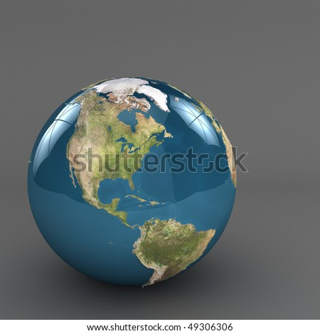 Shiny planet earth studio 3d render,  with nasa images used.