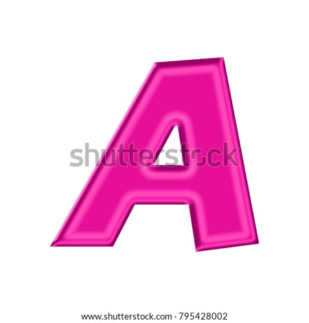 Shiny Plastic Pink Uppercase Or Capital Letter A In 3D Illustration With Silky Shine