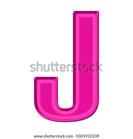 Shiny Plastic Pink Uppercase Or Capital Letter J In A 3D Illustration With Satiny Silky
