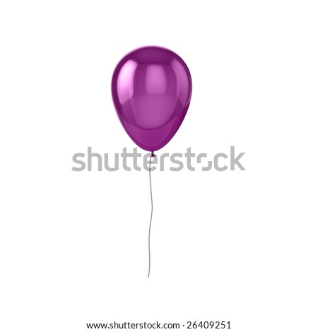 Shiny purple balloon, isolated on white background.