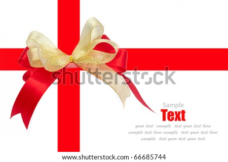 Shiny red and gold ribbon bow on white background with copy space - stock photo