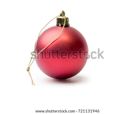 Shiny red christmas bauble isolated on a pure white back