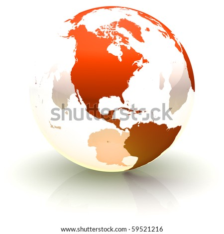 Shiny red continents-only globe marble with highly detailed continents facing North America - stock photo
