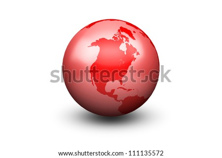 Shiny Red Globe Earth facing North America - stock photo