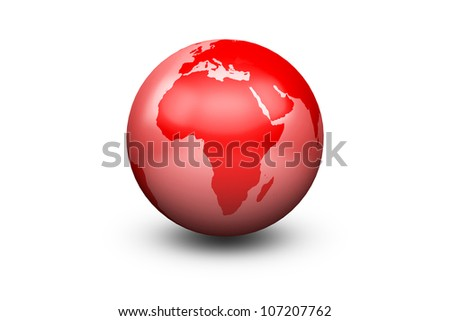 Shiny Red Globe Earth facing South Africa - stock photo
