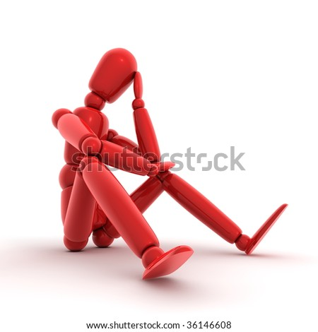 shiny red lay figure sitting on a white ground thinking - stock photo