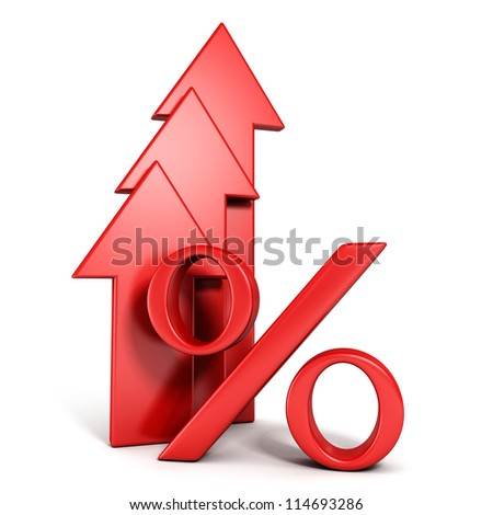shiny red percent symbol with growing up arrow - stock photo
