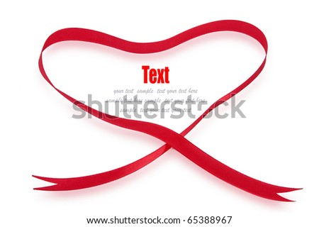 Shiny red ribbon bow Heart shape on white background with copy space. - stock photo