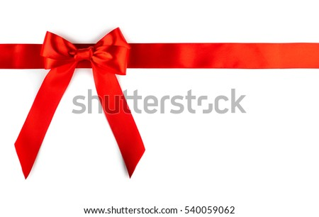 Shiny red ribbon bow isolated  on white background