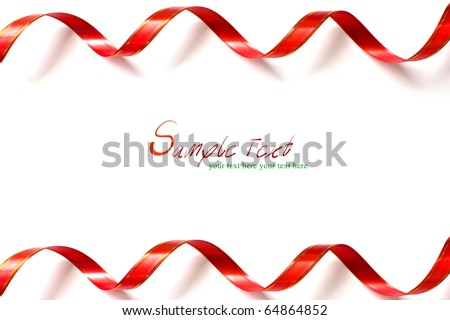 Shiny red ribbon curl on white background with copy space. (Red ribbon frame)