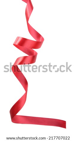 Shiny red ribbon isolated on white