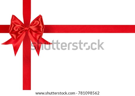 shiny red satin ribbon bow with crosswise ribbons isolated on white background