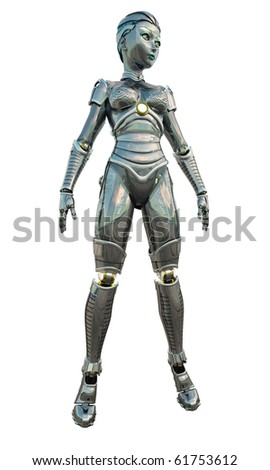 Shiny reflective female android or robot, 3d digitally rendered illustration - stock photo