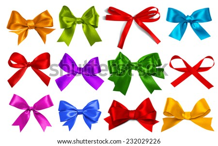 Shiny satin ribbon on white background - stock photo