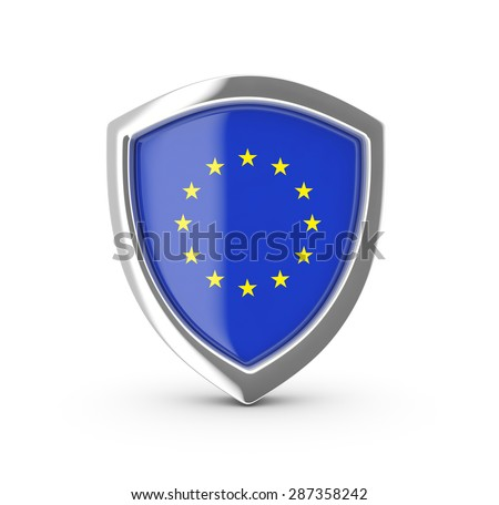 Shiny shield with the flag of EU. - stock photo