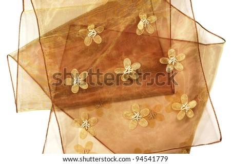 shiny silky oriental satin fabric close up - stock photo